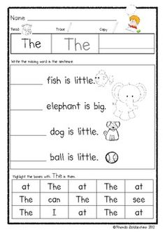 Kindergarten or First Grade Addition and Subtraction Fact Fluency Worksheets Adding numbers with sums to Great Math Center or Math Activity. Teaching Sight Words, Sight Word Practice, Sight Word Activities, Kindergarten Activities, Preschool Worksheets, Phonics Reading, Teaching Reading, Learning, Teaching Kindergarten
