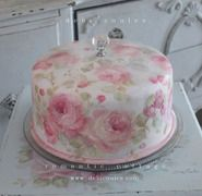 Shabby Chic Vintage Roses Cake Cover