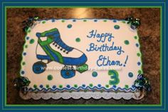 Homemade Roller Skate Birthday Cake: I used the largest sheet cake that Wilton makes for this Roller Skate Birthday Cake. It takes about 3 cake box mixes. All the icing is buttercream. I traced
