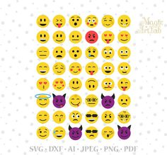 Emoji SVG, Emoticon svg, 48 Emoji cut, Cricut Emoticon, Smile print svg, Emoji Cut file, emoticon cut, 48 emoticons, smile svg, Face Clipart