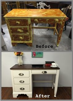 This solid wood desk had been well used and loved in its previous life. Soraya d. - This solid wood desk had been well used and loved in its previous life. Soraya decided to rescue it and give it a second chance, so here it is. Refinished Desk, Refurbished Furniture, Repurposed Furniture, Painted Furniture, Diy Furniture Projects, Furniture Makeover, Chair Makeover, Furniture Stores, Desk Redo