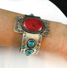 Cowgirl Bling TURQUOISE RED CORAL Rustic Bracelet CUFF Silver Gypsy western  #Unbranded #Cuff