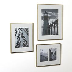Slim brass frames add eye-catching sparkle to call attention to featured photos or artwork. Generous mats of acid-free paper preserve while adding presentation-enhancing white space.