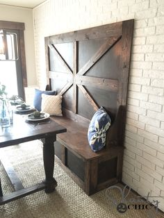 Build this DIY High Back Bench with free plans and how-to tutorial thanks to @shanty2chic . Perfect for a dining bench, entryway or a mudroom! http://spr.ly/64918Ed1h