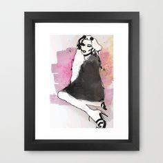 Black Dress - Fashion Illustration Framed Art Print by Allison Reich - $34.00