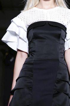 Elegant black dress + white frill sleeve top; sports luxe fashion details // Atsuro Tayama S/S 2015