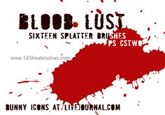 Blood Paint - Download  Photoshop brush http://www.123freebrushes.com/blood-paint/ , Published in #BloodSplatter, #GrungeSplatter. More Free Grunge & Splatter Brushes, http://www.123freebrushes.com/free-brushes/grunge-splatter/ | #123freebrushes