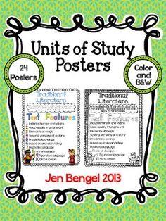 UNIT OF STUDY GENRE POSTERS IN COLOR AND B&W! - TeachersPayTeachers.com