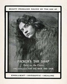 ophelia Beautiful Print Ad 1900 G Packers Tar Soap Woman Long Hair