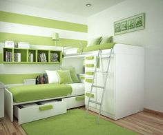 Kids Bedroom With Bunks Lime Green White Decor