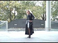 Heike in skirt and  long coat in the street - YouTube