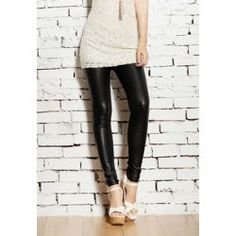 $5.93 Popular Alluring Solid Color PU Leather Skinny Leggings For Women