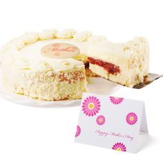 Mother's Day Strawberry Shortcake! Mom's everywhere love this amazing cake with the sweet taste of strawberries in between two layers of moist yellow cake. The cake is covered with a light and fluffy whipped vanilla mousse frosting!