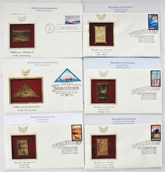 LOT 6 FIRST DAY 22KT GOLD REPLICAS WONDERS AMERICA JAMESTOWN 2006 STAMPS