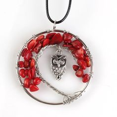 Kraft-beads Trendy Wire Wrapped Inlay Owl Tree Life Pendant Natural Red Coral Necklaces For Women With Rope Chain #Affiliate