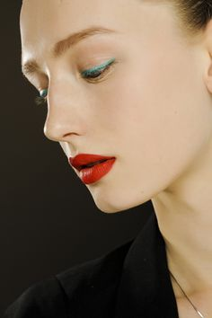 red lips, no mascara at jil sander