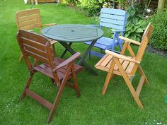 love mismatched furniture we are going to paint ours a pastel blue - Garden Furniture Colour Ideas