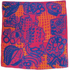 Gourmet by Patrick Heron.  This scarf was produced for a major exhibition of his work at the Tate in London in 1998. Unfortunately not well enough at the time to produce a new design, my father went to visit him and Patrick Heron chose this design (originally done in 1947) from his archive and then worked with James on re-colouring it for the exhibition.
