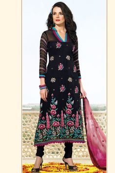 Designer Embroidered Party Lawn Kameez; Black Faux Georgette and Chiffon Embroidered Party and Festival Lawn Kameez