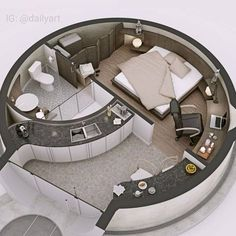 🇧🇷 Que tal uma casa redonda? 🤔/ 🇺🇲 How about a round house? 🤔/ 🇪🇸 ¿Qué tal una c… Tiny House Design, Modern House Design, Home Design, Dorm Room Organization, Organization Ideas, Dome House, House Layouts, Dream Rooms, Interior Design Living Room