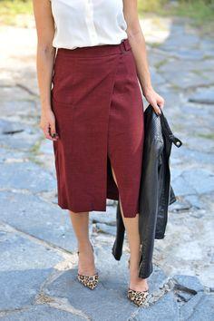 Asos wrap midi skirt and a leather jacket, fall outfit ideas via @mystylevita