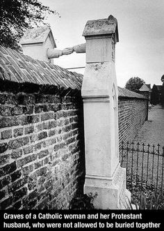 """Graves of a Catholic woman and her Protestant husband, who were not allowed to be buried together. Roermond, South-Eastern Netherlands, (This still happens today in N. America, where cemeteries have a """"Catholic only"""" section. Joe Masseria, Foto Picture, Cemetery Art, Powerful Images, Nikola Tesla, Interesting History, Interesting Photos, Ancient Greece, Historical Photos"""