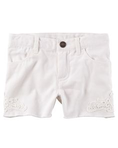 Toddler Girl Garment-Dyed Frayed Twill Shorts from Carters.com. Shop clothing & accessories from a trusted name in kids, toddlers, and baby clothes.