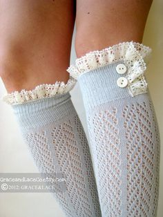 Lacey Dainty Sock  Dove Grey  openknit socks  by GraceandLaceCo, $34.00 adorable with boots?