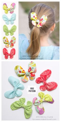 DIY Butterfly Hair Bow Free Sewing Pattern & Tutorial, hair accessory, hairclip for girls Fabric Hair Bows, Hair Ribbons, Diy Hair Bows, Diy Bow, Diy Ribbon, Felt Hair Bows, Ribbon Headbands, Felt Hair Accessories, Bow Pattern