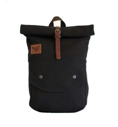 Product Type: Roll-top backpack Weight: 1000 g Dimensions: 36x58(35)x8 cm(width /height (rolled)/depth) Size:  10 liters (rolled)Carries: MAX 5-7KGMaterial: - Base: 50% Cotton Canvas   50% PE - JET BLACK- Lining: Waterproof fabric in brownAdditional Information:Front pocket 28x26 cm with push button enclosure.Padded shoulder straps reinforced with leather half circle for extra strength.The back part of the bag is padded with poly foam for additional comfo...