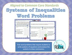 Systems of Inequalities Word Problems - Amped Up Learning Algebra Lessons, Algebra Activities, Absolute Value Inequalities, Secondary Math, Cooperative Learning, Common Core Standards, Math Classroom, Word Problems, Writing