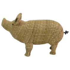 Wicker Pig Sculpture by Mario Lopez Torres | From a unique collection of antique and modern animal sculptures at https://www.1stdibs.com/furniture/more-furniture-collectibles/animal-sculptures/
