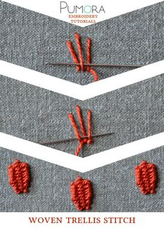 Pumoras embroidery stitch-lexicon: woven treills stitch Más