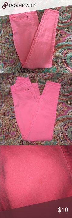 CORAL Skinny Jeans Brand New Never worn!! These jeans are super cute! They look hot pink in the pictures but I assure you they are a gorgeous Coral pink! Love for spring/summer!! Abercrombie & Fitch Jeans Skinny