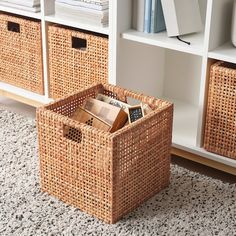 The woven rattan gives each basket a distinct and natural expression. This stable basket has many potential uses and is dimensioned for EKET storage, giving it a unique look and function. Cube Storage Baskets, Baskets For Shelves, Closet Storage Bins, Ikea Storage Cubes, Storage Bins For Toys, Ikea Cube Shelves, Ikea Bins, Living Room Toy Storage, Pantry Baskets