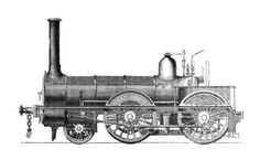 Engraving of a steam locomotive of the 1850's built by Neilson and Company, Glasgow