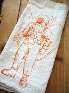 Screen Printed Organic Cotton Flour Sack Tea Towel - Deep Sea Diver Illustration - Nautical - Eco Friendly and Awesome Hand Towel. $10.00, via Etsy.