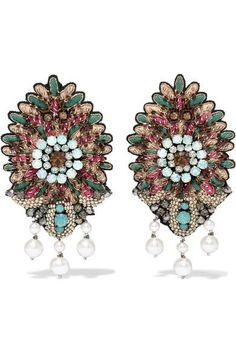 Etro - Bead, Crystal And Faux Pearl Clip Earrings - Mint - one size