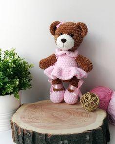 Amigurumi plush bear crochet toy Free crochet plush pattern to make a sweet teddy bear in dress. Make your own adorable amigurumi bear, take your favorite colour for the dress. Knitted Teddy Bear, Crochet Teddy, Crochet Bear, Cute Crochet, Crochet Dolls, Teddy Bears, Amigurumi Doll Pattern, Plush Pattern, Free Pattern
