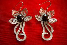 Filigree Earring-Pearl Earring-silver earring-999 silver with