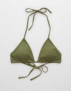 Aerie Triangle Bikini Top , Olive | Aerie for American Eagle