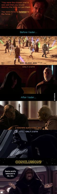 Vader actually did bring balance to the Force. Interesting theory...