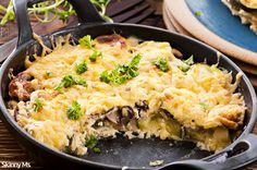 This Veggie Cheese Skillet is an awesome one skillet meal that clocks in at only 142 calories.