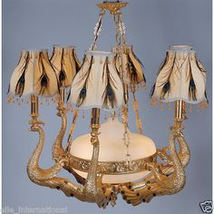Peacock Chandelier Gold Feather Unique Gold Leafed by Hand New Free Shipping | eBay