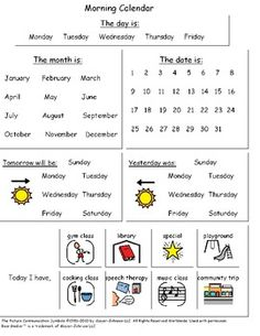 Visual Calendar Worksheets for Autism, Special Education, or Early Childhood… Life Skills Classroom, Autism Classroom, New Classroom, Special Education Classroom, Classroom Activities, Early Education, Calendar Worksheets, Calendar Activities, Childhood Education