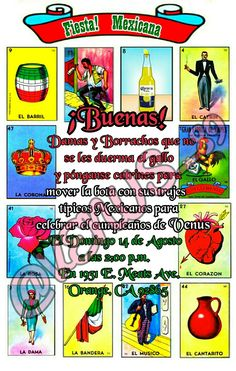 Mexican themed party! Buenas! I love Loteria and this made the perfect invite! With the help of some friends we were able to come up with this word play!