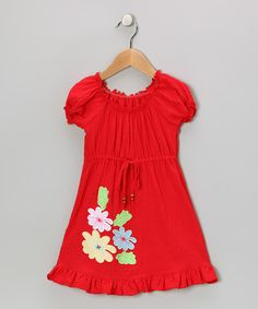 This Lele for Kids Red Flower Patch Peasant Dress - Toddler & Girls by Lele for Kids is perfect! #zulilyfinds