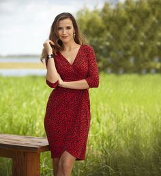 Faux wrap ruched red dotted dress #beallsflorida
