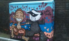 Brighton street-art / graffiti: on a BT junction box