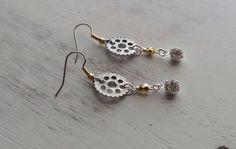 SteamPunk Industrial Silver Gear Gold and Rhinestone Dangle Earrings on Etsy, $12.00